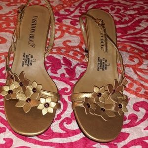 Gold Fashion Bug Sandals Size 7 1/2